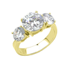 Lamour In Gold - A Magnificent High Polished Gold IP Ring with Three AAA Grade CZ Stones