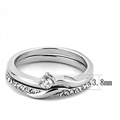 Leona - Women's Delicate Stainless Steel CZ Wedding Set