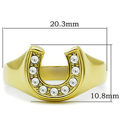Lucky - High Polished Stainless Steel Gold Ion-Plated Ring with Top Grade Clear Stones