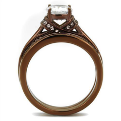 Lunar Dreams - High Polished Chocolate IP Stainless Steel Clear CZ Wedding Ring Set