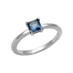 Luscious Sapphire - Stainless Steel Ring with Synthetic Blue Glass