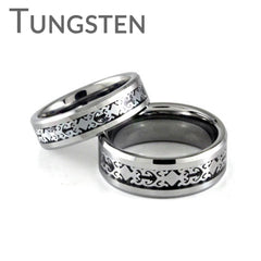 Magical – Filigree design framed in silver tone black carbon inlay tungsten couples matching rings