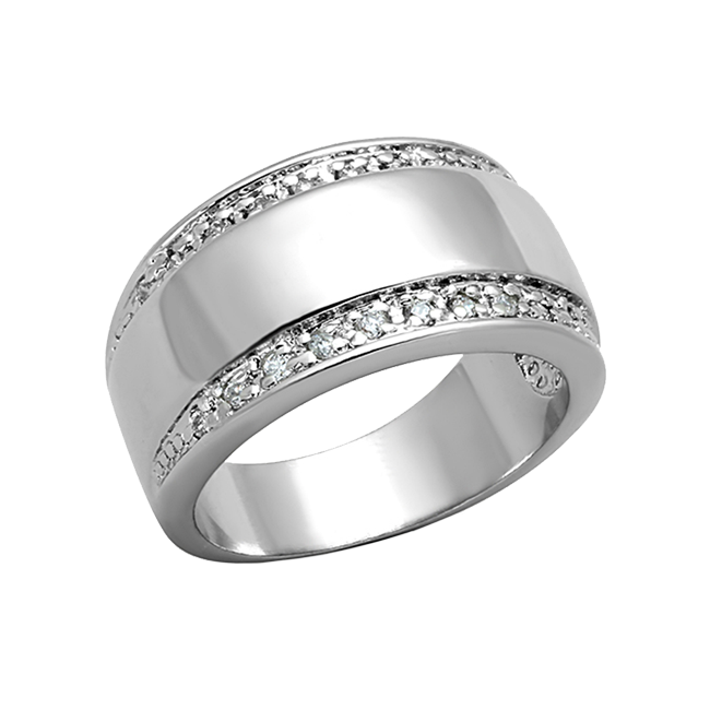 Magnificent - A Bold Women's Stainless Steel Ring with AAA Grade Clear CZ Stones