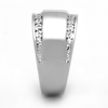 Magnificent - A Bold Women's Stainless Steel Rhodium Plated Ring with AAA Grade Clear CZ Stones