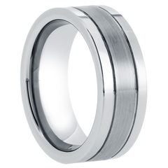 Magnitude - Men's High Polished Tungsten Ring with Satin Center