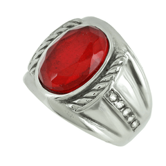 Majestic - Oval Cut Red Stone Stainless Steel Comfort Fit Ring with Multiple CZs