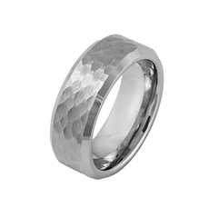 Man of Steel - Men's Hammered Beveled Edge Tungsten Ring with Brushed Finish