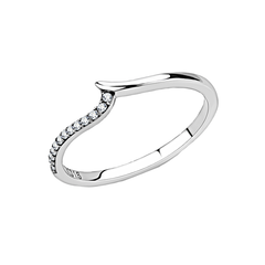 Maree - Women's High Polished Stainless Steel Ring with AAA Grade Clear Round CZ Stones
