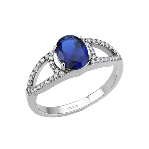 Maribella - Women's Stainless Steel Ring with 1.25 CT. Eq. London Blue Oval Stone