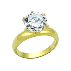 Marigold - A Breathtaking Gold IP Stainless Steel Engagement Ring with a 3.87 CT Eq. Center CZ Stone