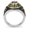Marine Strong - Men's Stainless Steel Ion-Plated Two-Tone Gold Ring with Synthetic Red Center Stone