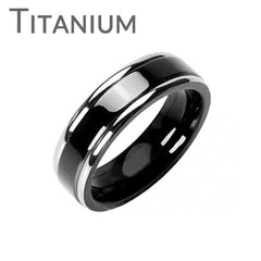 Martini - FINAL SALE Double Stripe Black and Solid Titanium Refined Style Two Toned Comfort Fit Ring
