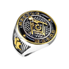Master Mason - Gold And Black IP Round Face Stainless Steel Men's Ring