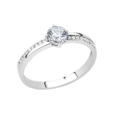 Melody - A Lovely Women's Stainless Steel Ring with AAA Grade Clear CZ Stones