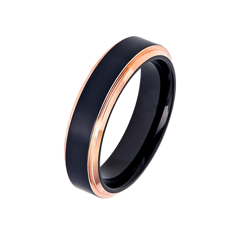 Midnight Rouge in 6mm - Women's Two Tone Black IP Brushed Titanium Ring with Rose Gold IP Stepped Edges