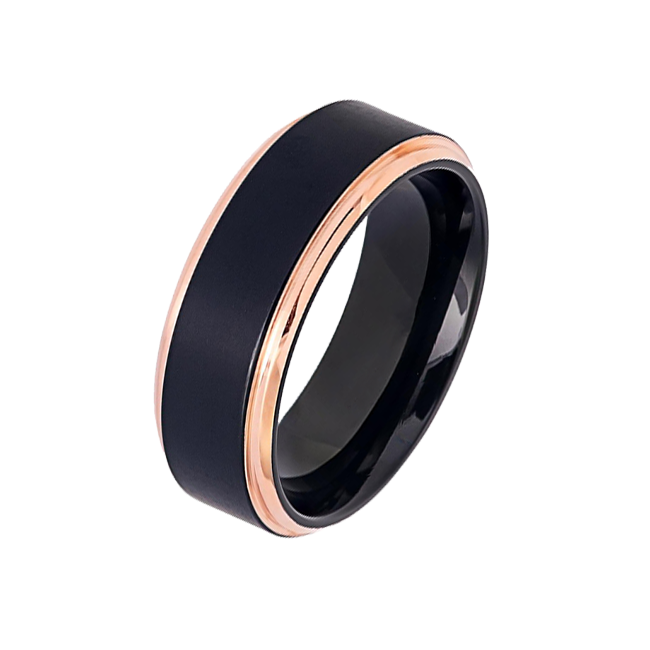 Midnight Rouge in 8mm - Men's Two Tone Black IP Brushed Titanium Ring with Rose Gold IP Stepped Edges