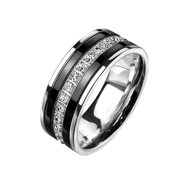 Midnight Rush - Men's CZ Lined Black IP Stainless Steel Eternity Ring