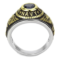 Navy Strong - Men's Stainless Steel Ion-Plated Two-Tone Gold Ring with Synthetic Blue Center Stone
