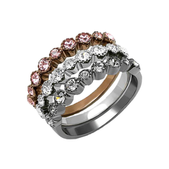 Neapolitan Shine - Women's Multi Color IP Stainless Steel Ring with Top Grade Crystal Rhinestones