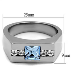 Oceanside - Men's High Polished Stainless Steel Ring with Top Grade Crystal Aquamarine