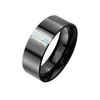 Onyx Pearl - Men's Black Stainless Steel Ring with Opal Stone