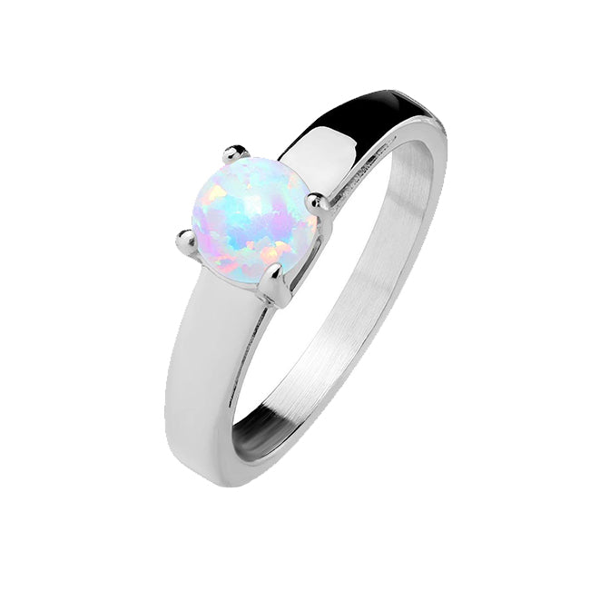 Opal Solitaire - Classic Opal Stainless Steel Engagement Ring