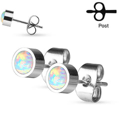 Opal Treasure - Round Opal Stainless Steel Stud Earrings