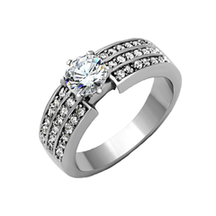 Ophelia - Women's High Polished Stainless Steel Ring with AAA Grade Clear CZ Stones