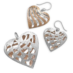 Opposites Attract Set - Two Toned Sterling Silver and Copper Reversible Set Of Pendant and Earrings E-10025-P-10046