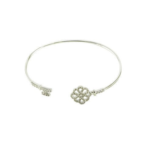 Ornate Key - Clear CZ Stone Bracelet