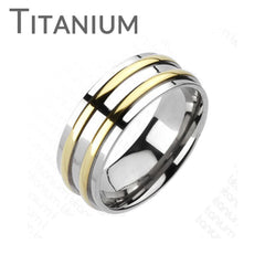 Othello - Two Golden Bands Solid Titanium Traditional Wedding Band