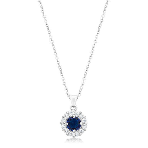 Sapphire Blue - Rhodium Plated Pendant with Blue and Clear CZ Stones