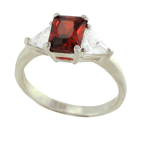 Passion Potion - Sizzling Garnet and Clear Cubic Zirconia's Sterling Silver Comfort-Fit Engagement Ring