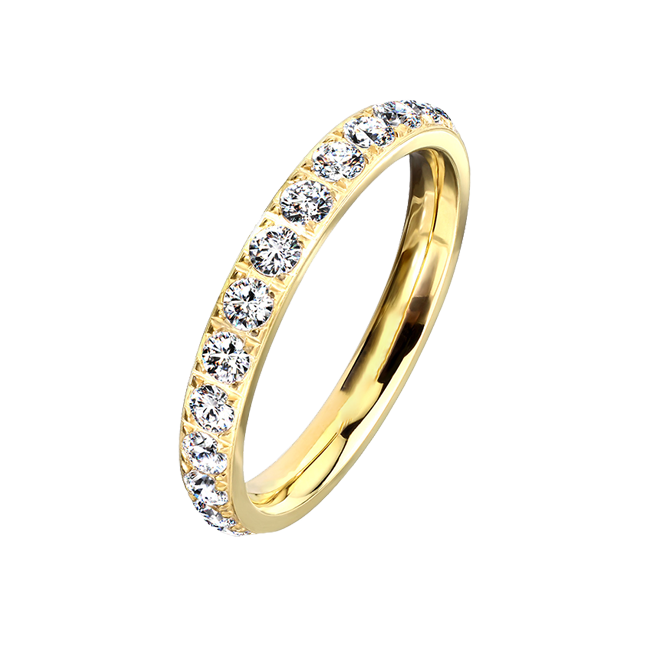 Persuasion in Gold - Classic Design Titanium PVD Gold Wedding Ring with Cubic Zirconias