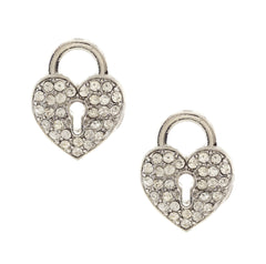 Love Lockdown - Silver Plated Base Metal Crystal Heart Lock Earrings
