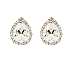 Teardrop Halo - Clear CZ Pear Halo Stud Earrings