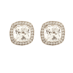 Perfect Halo Earrings - CZ Cushion Cut Halo Studs