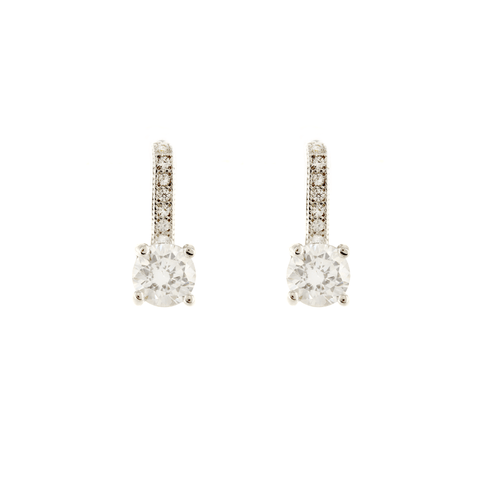 Suspended Luminosity - Clear CZ Stud Earrings