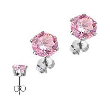 Pink Champagne - Surgical Stainless Steel Pink Cubic Zirconia Stud Earrings