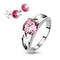 Pink Love Plus Earrings- Glorious Stainless Steel Ring with Pink Cubic Zirconia R-10001+E-10073