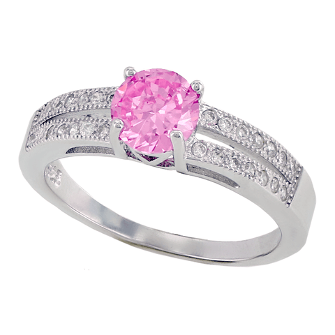 Pink Kiss – FINAL SALE Round pink cubic zirconia solitaire with white pavé cz double band sterling silver ring