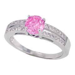 Pink Kiss – Round pink cubic zirconia solitaire with white pavé cz double band sterling silver ring