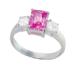 Pink Romance - Radiant-Cut Pink Tourmaline and Clear Cubic Zirconias Sterling Silver Pretty Looking Ring