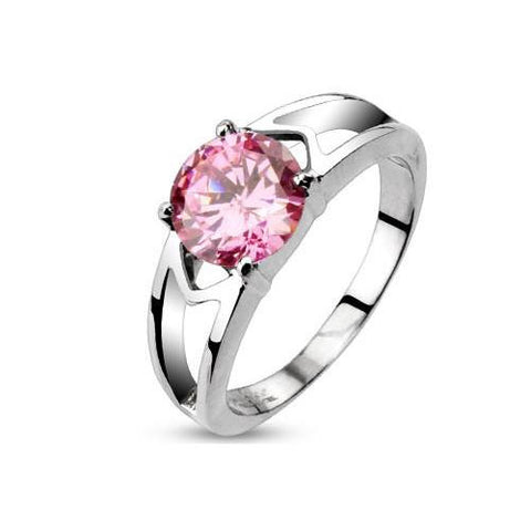 Pink Love - FINAL SALE Elegant Stainless Steel Engagement Ring with Pink CZ