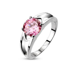 Pink Love - Elegant Stainless Steel Engagement Ring with Pink CZ