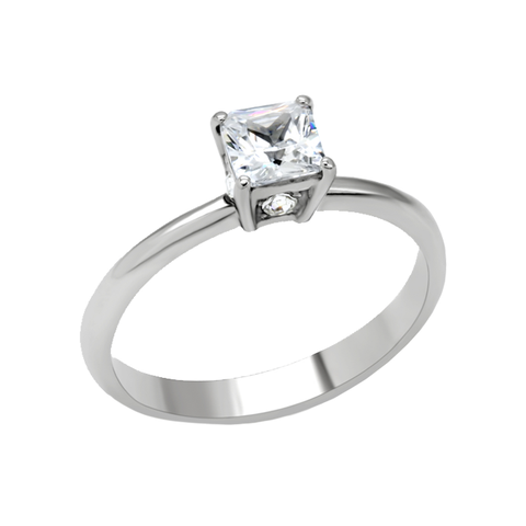 Promise Me - Square cut white cubic zirconia solitaire stainless steel promise ring