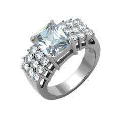 Queen Majesty - Women's High Polished Stainless Steel Ring with AAA Grade Clear CZ Stones