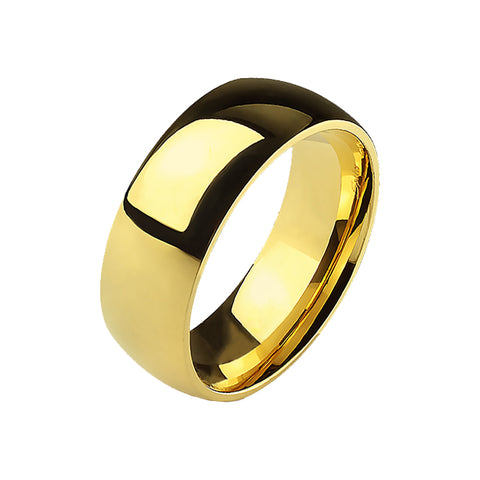 Golden Tradition - Classic Gold Wedding Band Style Light Weight Titanium Ring