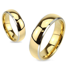 Gold Ceremony - FINAL SALE Glossy Gold Tungsten Silver Beveled Edge Dome Wedding Band