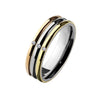 Pretty One - Polished gold and rose gold three tone stacked ring with cubic zirconias in silver stainless steel